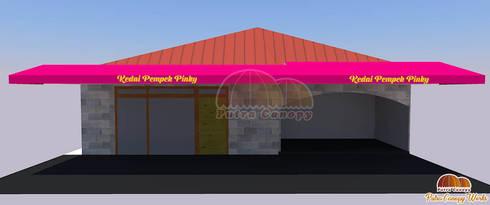 Model 3D Canopy kain untuk toko Pempek:  Balconies, verandas & terraces  by Putra Canopy