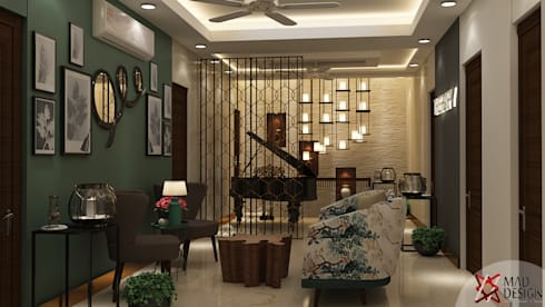 LIVING AREA VIEW 2: rustic Living room by MAD DESIGN