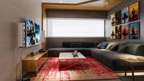 SALA DE JUEGOS- PROYECTO M: Sala multimedia de estilo  por FABRE STUDIO