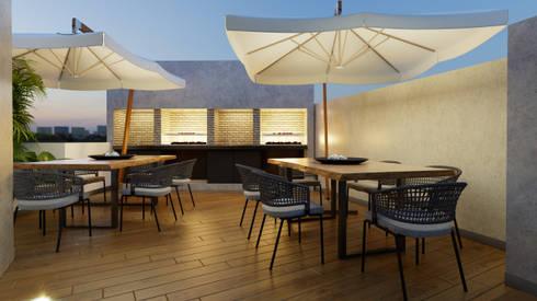 AREA BBQ - PROYECTO M: Paisajismo de interiores de estilo  por FABRE STUDIO