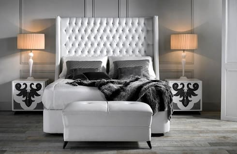 VALENTINA bedroom with TROYANO headboard: modern Bedroom by S. T. Unicom Pvt. Ltd.