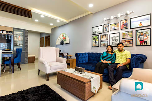 Palak and Vishal's- Residential Project: modern Living room by Design  Cafe