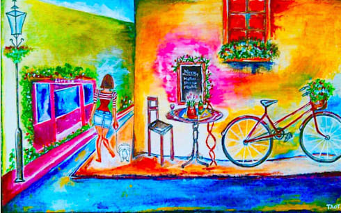 The Cafe Bicycle:  Artwork by Indian Art Ideas