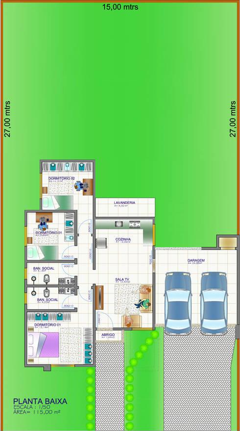 Planta baixa: Casas familiares  por Edifica Arquitetura e Design