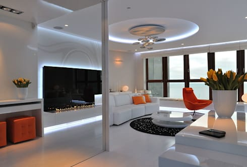 Fire Line Automatic at the Sea Tower: modern Living room by S. T. Unicom Pvt. Ltd.