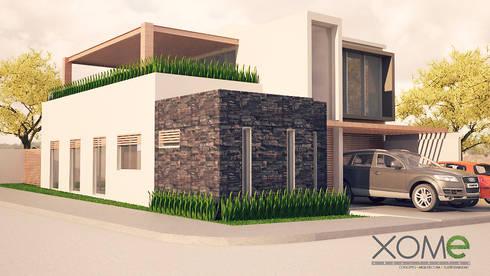 FACHADA PRINCIPAL (RENDER): Casas de estilo moderno por Xome Arquitectos