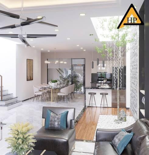Anh Hải – Long Biên, Hà Nội:  Phòng khách by CTY KIẾN TRÚC VÀ NỘI THẤT HP-HOUSE