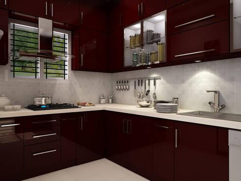 Modular Kitchen: minimalistic Kitchen by themoonstudio