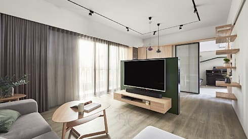 喵星人の森林宅:  客廳 by 禾光室內裝修設計 ─ Her Guang Design