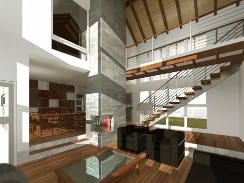 Vista interior living comedor:  de estilo  por artefacto arquitectura