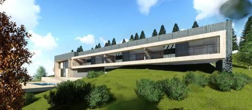PETRICOR FACHADA PRINCIPAL:  de estilo  por AEG Arquitectura, Asesoría y Construcción.