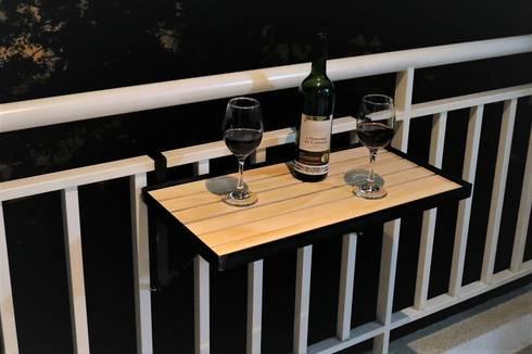Mesa Plegable Ref. Natural Madera: Balcones y terrazas de estilo  por mekano proyectos