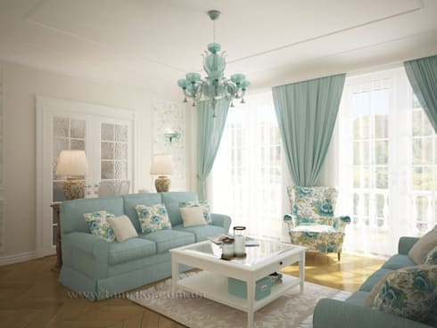 French country interior design: country Living room by Tamriko Interior Design Studio