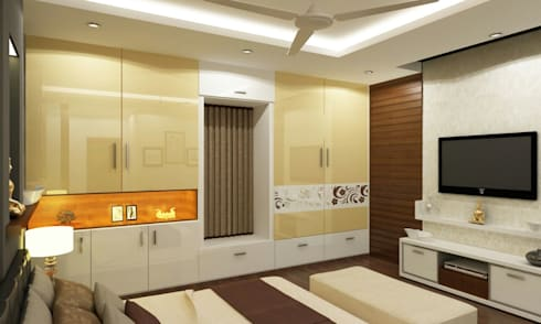 Mr. Arun reddy Home Interior Design : asian Bedroom by Walls Asia Architects and Engineers