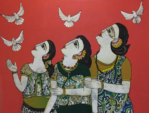 Three generation together:  Artwork by Indian Art Ideas