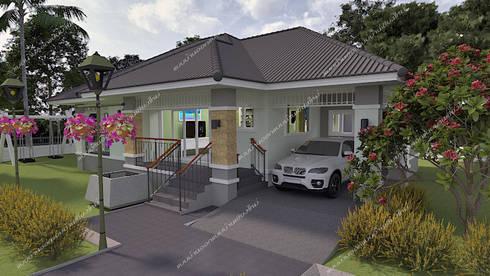 บ้านพักอาศัยชั้นเดียว 137 ตร.ม.:  บ้านและที่อยู่อาศัย by แบบบ้านออกแบบบ้านเชียงใหม่