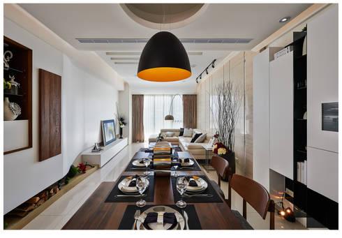 建構 ‧ 線 (住宅設計案 2014):  客廳 by 北歐制作室內設計