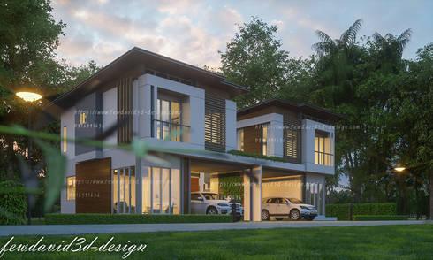 บ้านแฝดสไตลล์โมเดิร์น จ.นครนายก:   by fewdavid3d-design