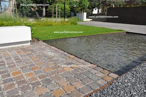 Bordi piscina fontane lavandini di porfido trentino srl for Eliminare acqua verde laghetto
