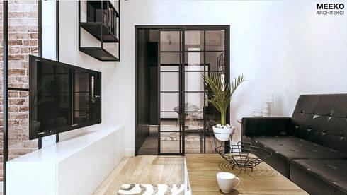 Szklana witryna do salonu: styl , w kategorii  zaprojektowany przez MEEKO Architekci