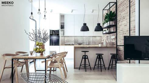 Jadalnia i kuchnia: styl , w kategorii  zaprojektowany przez MEEKO Architekci