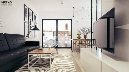 Salon z tarasem: styl , w kategorii  zaprojektowany przez MEEKO Architekci