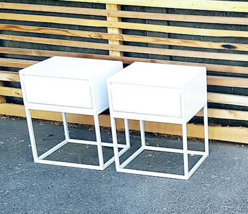 Custom Side Tables with Drawer on Steel Bases: modern Bedroom by Eco Furniture Design