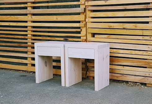 Chunky Side Tables with Drawer:  Bedroom by Eco Furniture Design