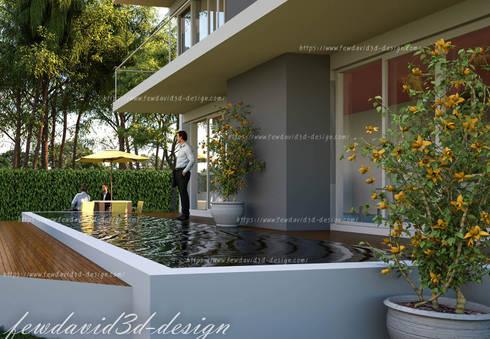 บ้านพักอาศัย 2ชั้น อ.หัวหิน จ.ประจวบคีรีขันธ์:  สระว่ายน้ำ by fewdavid3d-design