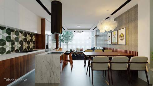 Linh House – Linh Đàm:  Phòng ăn by Công ty cổ phần kiến trúc và nội thất Tobehouse Việt Nam