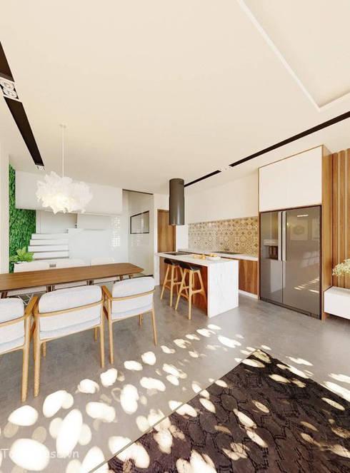 Linh House - Linh Đàm:  Phòng khách by Công ty cổ phần kiến trúc và nội thất Tobehouse Việt Nam