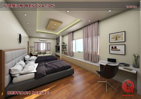 1-Bedroom Interior Design: modern Bedroom by Garra + Punzal Architects
