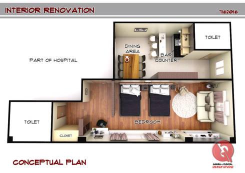 1-Bedroom Interior Design:   by Garra + Punzal Architects