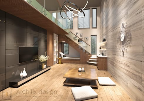 Cải tạo căn hộ Duplex -Lam Sơn – Tân Bình:  Phòng khách by Công Ty TNHH Archifix Design