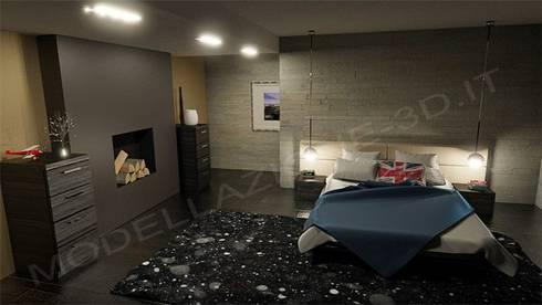 Camera ad letto in stile moderno con camino von Modellazione-3d.it ...