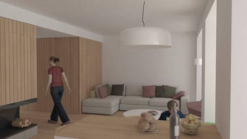 Rehabilitación integral de un bloque de viviendas: Salones de estilo escandinavo de Okoli