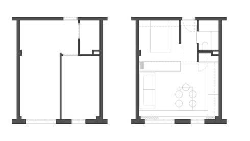 Reforma de piso de 30m2: Salones de estilo moderno de Okoli