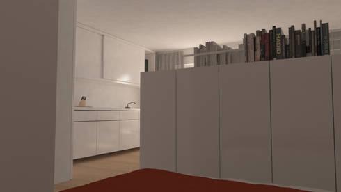 Reforma de piso de 30m2: Dormitorios de estilo moderno de Okoli