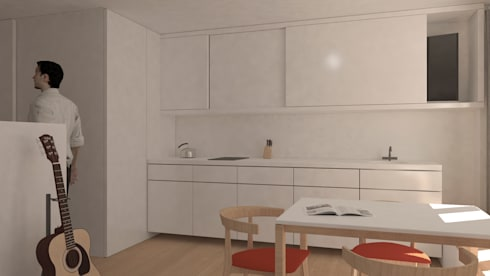 Reforma de piso de 30m2: Cocinas integrales de estilo  de Okoli