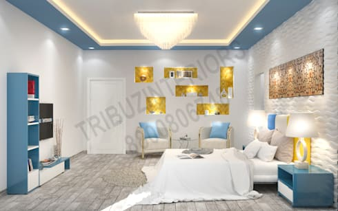 Saket: modern Bedroom by Tribuz Interiors Pvt. Ltd.