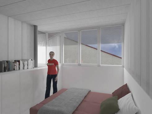 Ventanal planta alta: Dormitorios de estilo moderno de Okoli