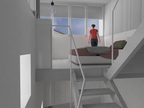 vista desde la entreplanta: Dormitorios de estilo moderno de Okoli