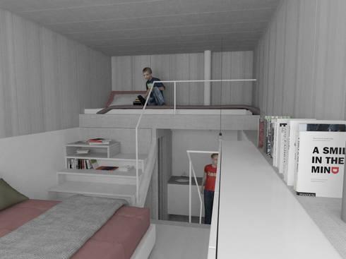 Dormitorio con altillo: Dormitorios de estilo moderno de Okoli