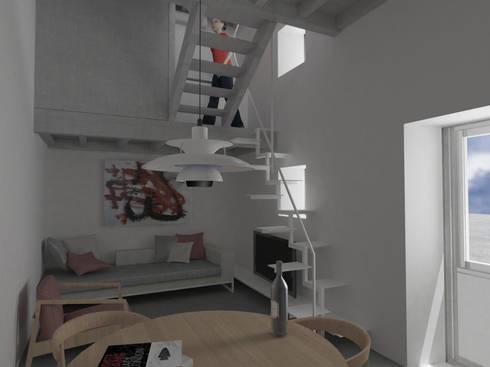 vista desde cocina: Salones de estilo moderno de Okoli