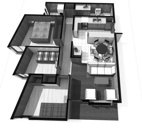 Vista planta 3d:  de estilo  por artefacto arquitectura