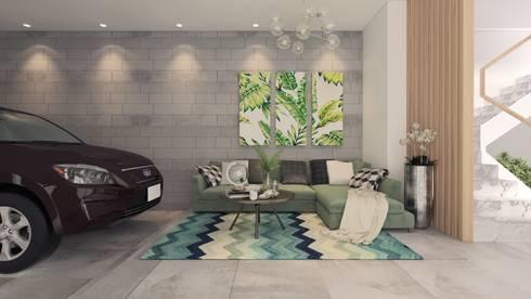 Nhà Anh Long:  Phòng khách by AT Design