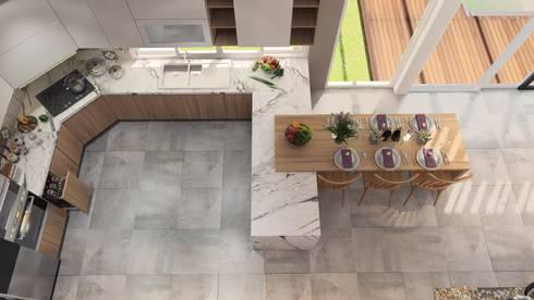 Nhà Anh Long:  Nhà bếp by AT Design