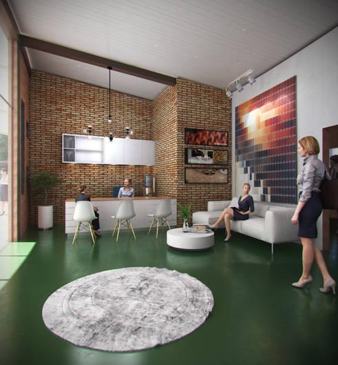 HALL DE ACCESO: Estudios y despachos de estilo industrial por Arquitectura Positiva