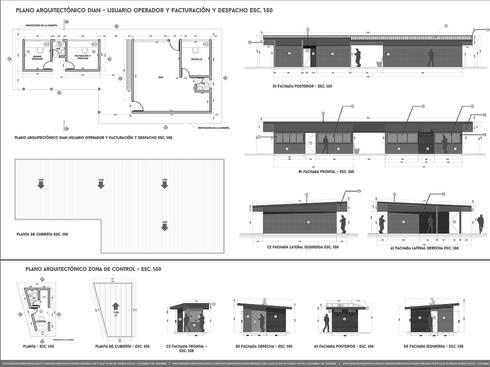 PLANIMETRIAS : Estudios y despachos de estilo industrial por Arquitectura Positiva