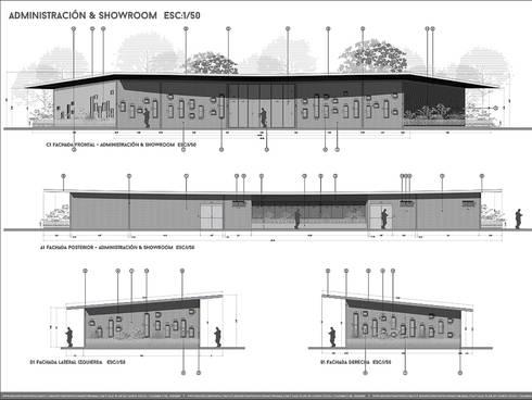 SEDE ADMINISTRATIVA DE  PLANTA DE PROCESAMIENTO DE ARCILLAS - COLOMBIA : Casas de estilo industrial por Arquitectura Positiva